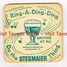 """1950s """"Anytime At All"""" PA Wilkes-Barre STEGMAIER BEER 3½"""" Tavern Trove"""