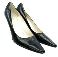 Calvin Klein Diva Pump Womens 7.5 M Black Leather Pointed Toe Slip On Heel Shoes