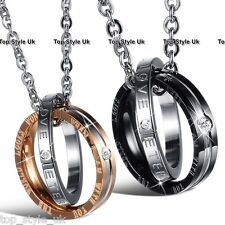 Rings Charm Chain Couple Necklace Christmas Gifts for her women wife Husband Him