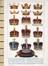 1932 PRINT ~ CROWN EMBLEMS OF SOVEREIGNTY BY BRITISH MONARCHS