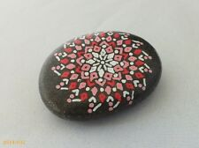 Hand Painted Alchemy Beach Stone with Pink, Red & White Pinwheel Star Design