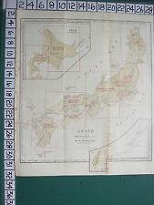 1913 Japón Japonés de Turismo Mapa ~ Japan ~ Formosa Yezo seccional clave prefecturas