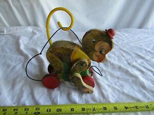 VINTAGE FISHER PRICE PULL TOY CHATTER MONK MONKEY #798