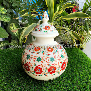 Decorative Flower Pot for Table Centerpiece White Marble Inlay Matka Jar