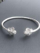 Real Solid 925 Sterling Silver West Indian Bangle Flower Bracelet Handmade