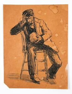 American Ink on paper Study Paul Cadmus Seated by Maria Latasa Cadmus ca. 1900