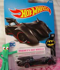 DC Comics BATMOBILE #190✰Black; red rim pr5✰BATMAN✰2017 i Hot Wheels Case H/J