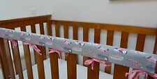 1 x Baby Cot Rail Cover Crib Teething Pad - Pink Feathers on Grey 100% Cotton
