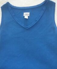 Chico's Womens Size 1 Knit Sleeveless Top Shirt V Neck Blue QUALITY