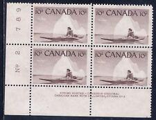 Canada #351(12) 1955 10 cent ESKIMO INUK & KAYAK LOWER LEFT PL BLK 2 MNH CV$2.75
