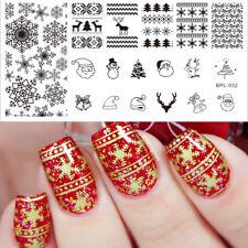 Arte en uñas placa de imagen Planchas para Estampar BORN PRETTY Navidad Copos De Nieve BPX-L032