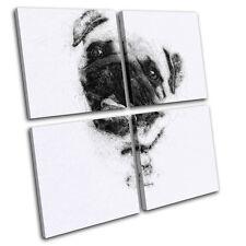 Pug Sketch Modern  Animals MULTI TOILE murale ART Photo Print