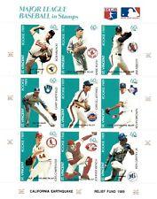 St. Vincent 1989 SC# B10 MLB Baseball Rookie Ruth Earthquake OVPT Sheet of 9 MNH