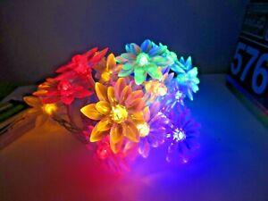20 er LED Mikro Lichter Draht Blumen  Bunt Batterie Silber wire Lights  101