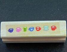 Small Mini Drink Cartoon Coffee Tea Cups Mugs Border Rubber Stamp