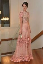 Elegant Long Lace Floral Prom Dress Beads Formal Floor Length Evening Party Gown