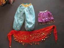 """3 Girl'S """"Genie/ Belly Dancing Costume Pieces :Size S & 6/6X (See Measurements)"""