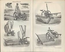 Lithografie 1906 Mähmaschinen. Rasen-Mäher Ernte Getreide Gras Maschine Hornsby