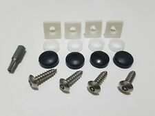 ANTI-THEFT LICENSE PLATE SECURITY SCREWS STAINLESS MOUNTS SNAP CAPS INSERTS KIT