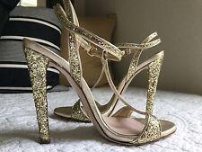 $732 MIU MIU Glitter-finished leather sandals SZ IT36 US6