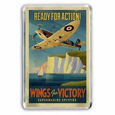 RETRO - WINGS FOR VICTORY - SPITFIRE WAR  POSTER ART - JUMBO FRIDGE  MAGNET