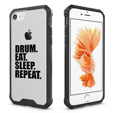 For iPhone X 6 6s 7 8 Plus Clear Shockproof Case Cover Drum Eat Sleep Repeat