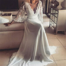 Lace Chiffon Beach Wedding Dress Boho Bridal Dress with Lace Flare Sleeves