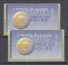 Portugal ATM Euro-Einführung Amiel Mi.-Nr. 40.2.1 Z2  Druck gestaucht / normal