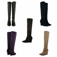 Unbranded Faux Suede Knee High Boots Casual Shoes for Women