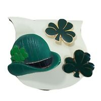 St Patrick's Day Green Derby Hat n 3 Leaf Clover Lapel Pins Set of 3 Luck Irish