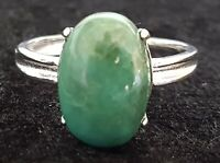 Sterling silver & green agate vintage Art Deco antique dress ring - size P