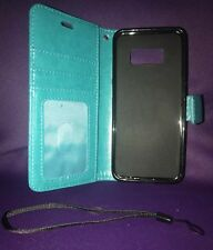 """NEW """"Fashion Case"""" Aqua Leather Galaxy S8Cell Case with Magnetic Clasp..."""