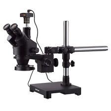 AmScope 7X-135X Trinocular Boom Stereo Zoom Microscope + 3MP Camera+ LED Light