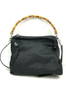 Gucci Handbag PVC Leather Bamboo Tote Shoulder Bag w/Strap Black