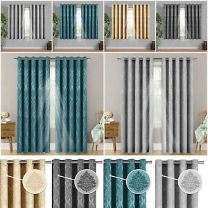 BLACKOUT CURTAINS READY MADE EYELET RING TOP PAIR CURTAIN WITH FREE TIE BACKS