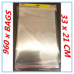 960 X PEEL AND SEAL A4 CELLOPHANE BAGS LARGE PARTY BIRTHDAY EVENT PACKING LOOT A