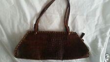 Vtg Maurizio Taiuti Pecan croc alligator embossed rectangular leather tote purse