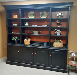 Beautiful Large Pine English Library Hutch, a reproduction made in USA