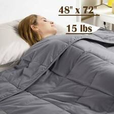Anxiety Weighted Blanket 48'' x 72'' Twin Size Reduce Stress 15 lbs Glass Beads