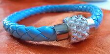 Bracelet Bangle Arthritis MAGNETIC CLASP PU Leather Silver Diamantes Rhinestone