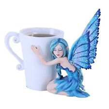 Blue Comfort Fairy Hug Tea Cup Statue Figurine Mystical Amy Brown Collection