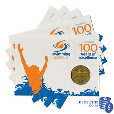 2009 $1 100 YEARS OF SWIMMING AUSTRALIA COIN ON CARD [LOT OF 5]