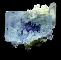 36g Rare Transparent Blue Cube Fluorite & Mica Mineral Crystal Specimen  Y01202