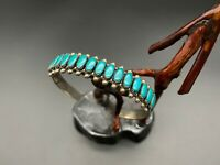 Vintage Southwestern Sterling Silver Faux Turquoise Stampwork Bracelet Cuff