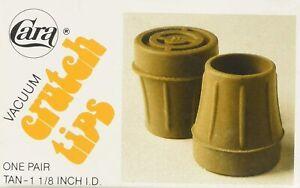 Cara Vacuum Crutch Tips One Pair Tan Color 1 Inch