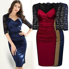Damen Elegant Kleid Cocktailkleid Spitzen 3/4 Arm Knielang Abendkleid Blau 36-46