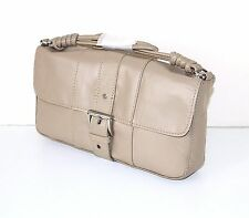 Taupe 100% Real Leather MNG MANGO Small Women's Handbag Shoulder Bag Clutch Bag