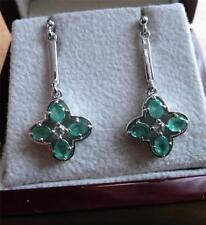 Emerald Drop/Dangle Natural Oval Fine Gemstone Earrings