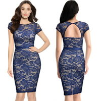 Women's Vintage Lace Bodycon Dress, only Available in Navy Blue (L, M)