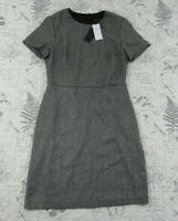NWT Banana Republic Black Silver short  Sleeve Bias Seam Sheath Dress Size 2